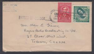 Dominican Republic Sc 312, 358 on 1944 Censored Cover to Toronto, Canada