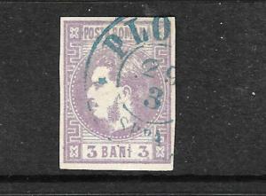 ROMANIA 1868-70  3b  BRIGHT MAUVE  FU    SG 72a