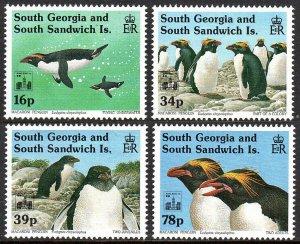 South Georgia 174-177,MNH.Macaroni Penguins.Ovptd.with Hong Kong '94 Emblem,1994