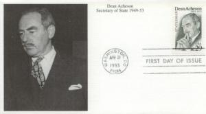 1993 Dean Acheson Statesman (2755) Mystic FDC