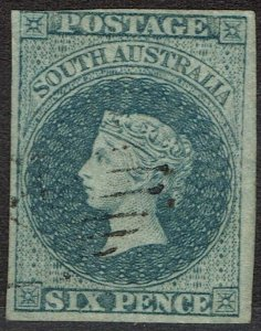 SOUTH AUSTRALIA 1856 QV 6D IMPERF ADELAIDE PRINTING USED