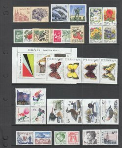 Sweden Sc 1991-2008, 2013-2033, 2038-2041a, MNH. 1993 issues, 11 complete sets