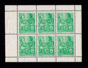 Sc #156 German Democratic Republic MH Locked Block of (6) Hinged Only 2 Stamps