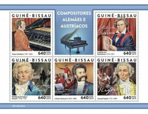Guinea-Bissau - 2019 German-Austrian Composers - 5 Stamp Sheet - GB190408a