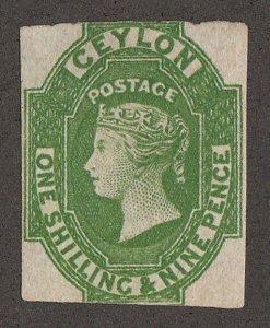 CEYLON 1857 QV 1/9 yellow-green, imperf, wmk star. SG 11a cat £5500. Certificate