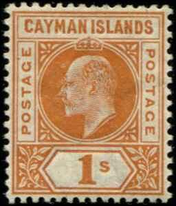 Cayman Islands SC# 7 SG# 7 Edward VII 1sh MLH wmk 2