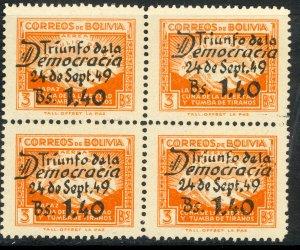 BOLIVIA 1950 END OF CIVIL WAR Airmail Block of 4 Sc C137 MNH