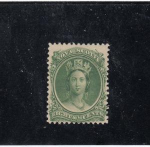 NOVA SCOTIA  # 11 FVF-MH  8 1/2cts QUEEN VICTORIA / GREEN CAT VALUE $15