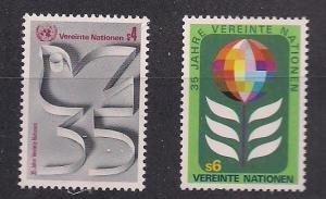 UN Vienna Sc# 12 13 UN 35th Anniversary MNH