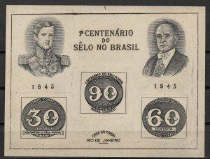 1943 Brazil 612 Centennial of Brazil 1st Stamps S/S NGAI