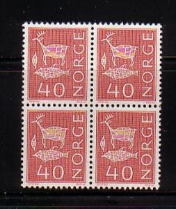 Norway Sc 4231963 40 ore rock carvings stamp bl of 4 mint NH