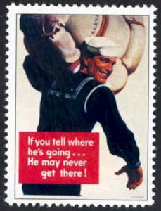 Patriotic WW2 Poster Stamp - If You Tell . . . - Cinderella