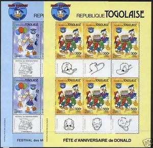 Togo 1234,7 Sheets MNH Disney, Donald Duck, balloon