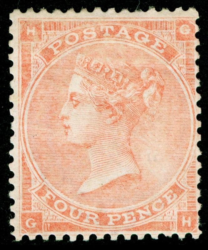 SG82, SCARCE 4d pale red PLATE 4, M MINT. Cat £2100. HAIRLINES. GH