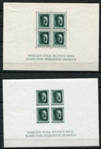 Germany 1937 Souvenir Sheet Mi Blocks B7-8 Sc B102-3 MLH/MNH CV 244 Euro A Hi...