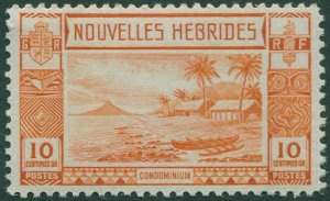 New Hebrides French 1938 SGF54 10c orange Islands Canoes MNH