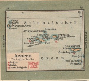 Germany Schaubek Poster Stamp PORTUGAL AZORES Map A6097