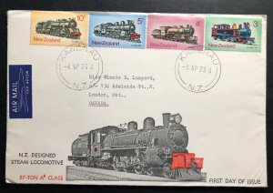 1973 Kawerau New Zealand First Day Cover FDC To Canada Steam Locomotive