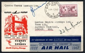 AUSTRALIA Air Mail Cover Special Vignette 1st Flight Anniv QANTAS GB 1947 EP440