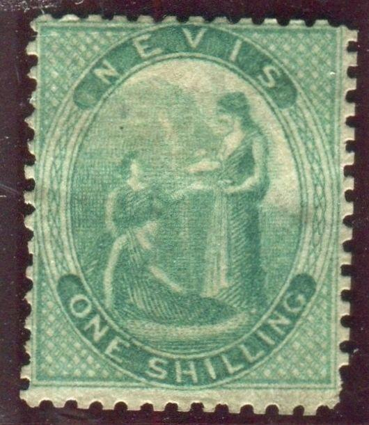 ST KITTS & NEVIS-1862 1/- Green (blued paper) average mounted mint example Sg 8a