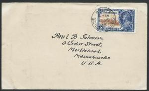 BR HONDURAS 1935 5c Jubilee on cover - Belize first day cancel.............53067