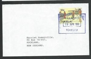 TOKELAU IS 1991 cover to NZ, scarce boxed FAKAOFO datestamp................11514