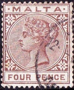 MALTA 1885 QV 4d Brown SG27 Used