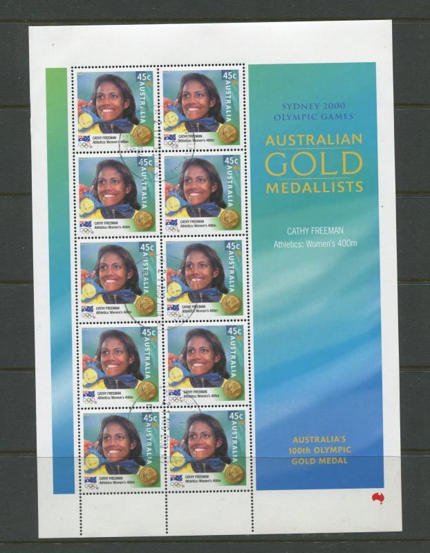 AUSTRALIA # Sydney 2000 CTO Page of 10 X 45c Stamps