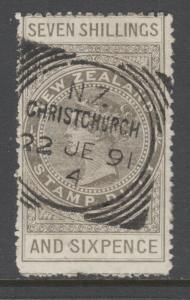 New Zealand Sc AR9, SG F16, used 1882 7sh 6p bronze gray QV Postal Fiscal, sound