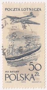 Poland, Sc C51, Used, 1957-58, Plane over Ship