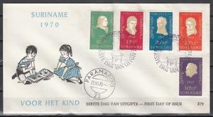 Suriname, Scott cat. B167-B171. Composer Beethoven issue. First day cover.