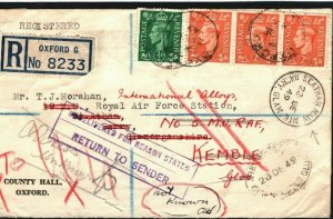 GB WALES Cover Forwarded *RAF ST.ATHAN* Barry Glam 1949 Registered Oxford M368