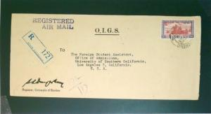 India 1953 2RS on O.I.G.S. Cover to USA - Z2626