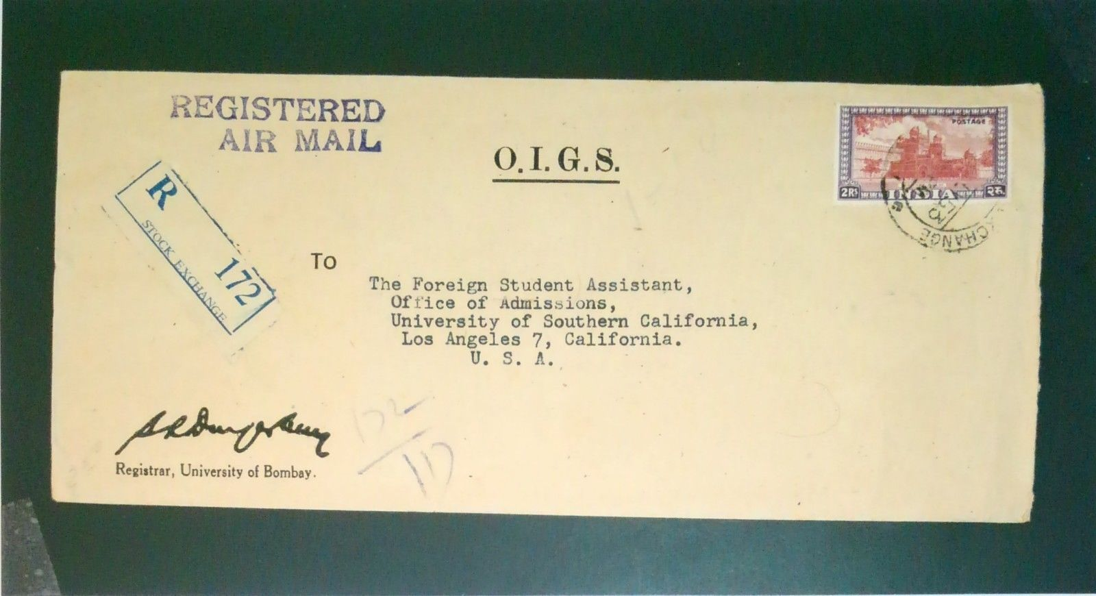 India 1953 2RS on O I G S  Cover to USA - Z2626 / HipStamp