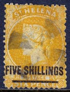 ST. HELENA — SCOTT 24 (SG 20) — 1868 5/- ON 6d QV ORANGE — USED — SCV $77.50