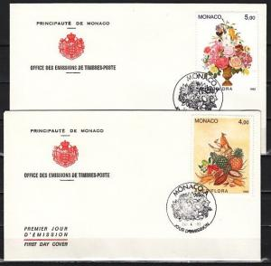 Monaco, Scott cat. 1817-1818. Fruit & Flowers issue on 2 First day covers.