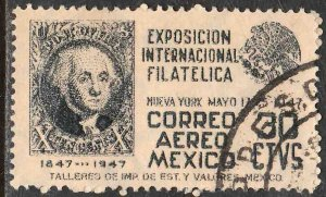 MEXICO C168, 30¢ Cent Int Philatelic Exhib ARMS & US#2, USED. VF. (895)