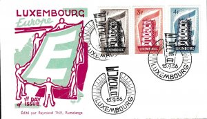 Luxembourg 1956 Scaffold EUROPA on First Day Cover Europa Issue Scott 318-329