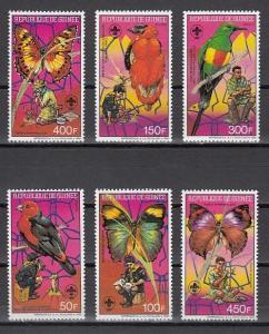 Guinea, Scott cat. 1088-1093. Butterflies & Birds on Scouts issue. ^