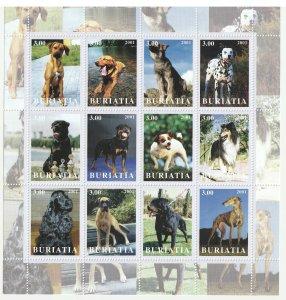 Buriatia MNH S/S Cute Dogs 2001 12 Stamps