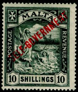 MALTA SG121, 10s black, VLH MINT. Cat £140.