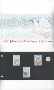 Isle of Man 318-20 Christmas  1986  MNH Presentation Folder
