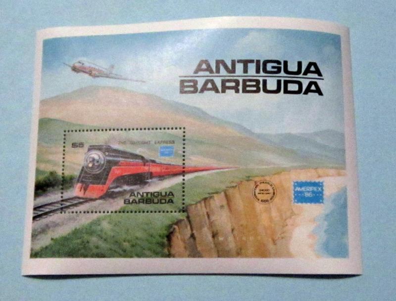 Antigua Barbuda - 938, MNH S/S AMERIPEX '86; Train. SCV - $8.00