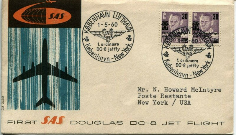 Copenhagen New York DOUGLAS DC-8 Jet First Flight Airmail Cover Denmark Postage