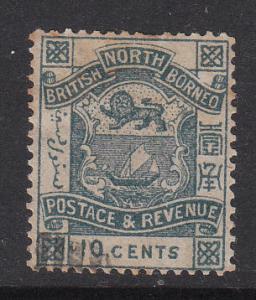 North Borneo 1887 Sc 43 Coat of Arms 10c Used