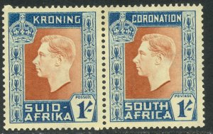 SOUTH AFRICA 1937 1sh KGVI CORONATION Issue (AFRIK/ENG) Sc 78 MH