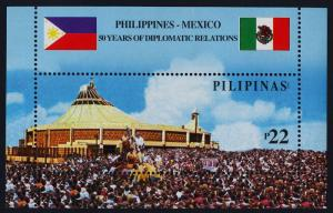 Philippines 2860 MNH Flag, Crowd Church, Mexcio-Philippines Diplomatic Relations