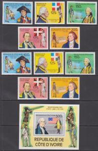 Ivory Coast Sc 421-426 MNH. 1976 US Bicentennial, perf + imperf + Souv Sheet