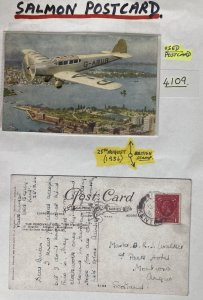 1936 Kent England Picture Postcard Cover The Percival Gull 130 HP Hermes IV