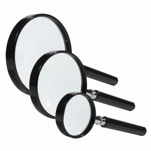 HANDLE MAGNIFIER WITH GLASS LENS, 3X FOR STAMPS, COINS, BANKNOTES, HOBBIES, ETC.